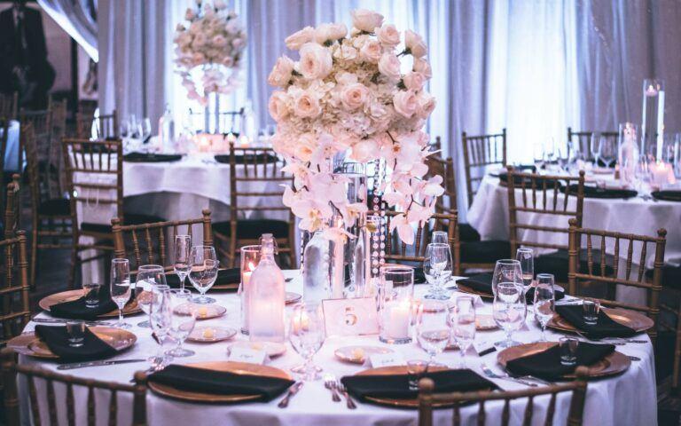 wedding reception tables prepared